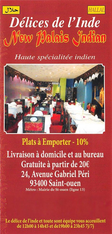 Delices de lu0026#39;Inde u00e0 Saint Ouen carte et menu en ligne