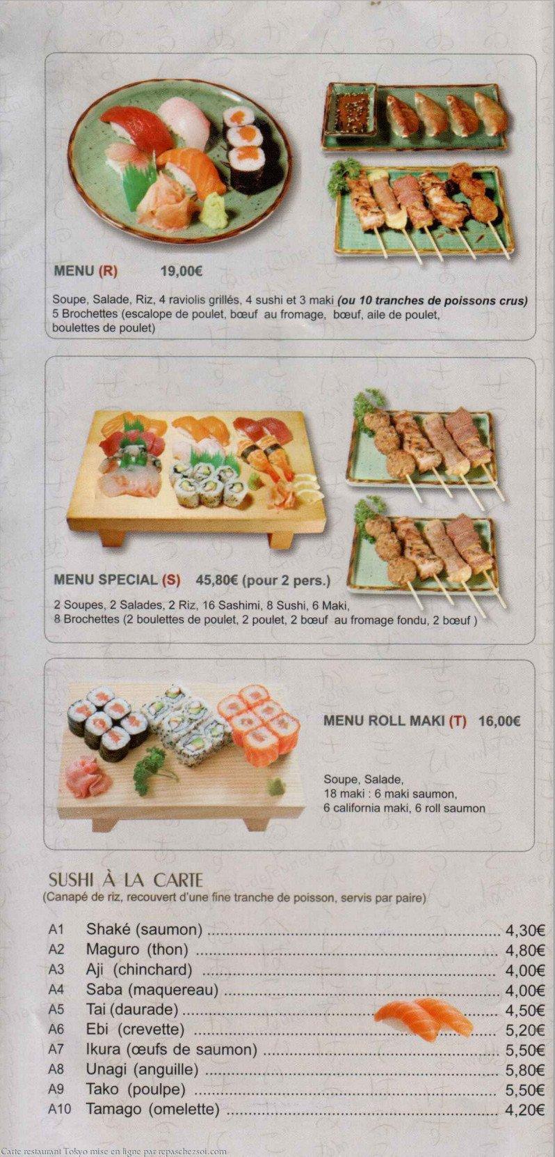 Tokyo saint ouen carte et menu en ligne - Restaurant japonais saint ouen ...