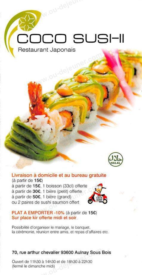Coco Sushià Aulnay Sous Bois, carte et menu en ligne # Restaurant Japonais Aulnay Sous Bois