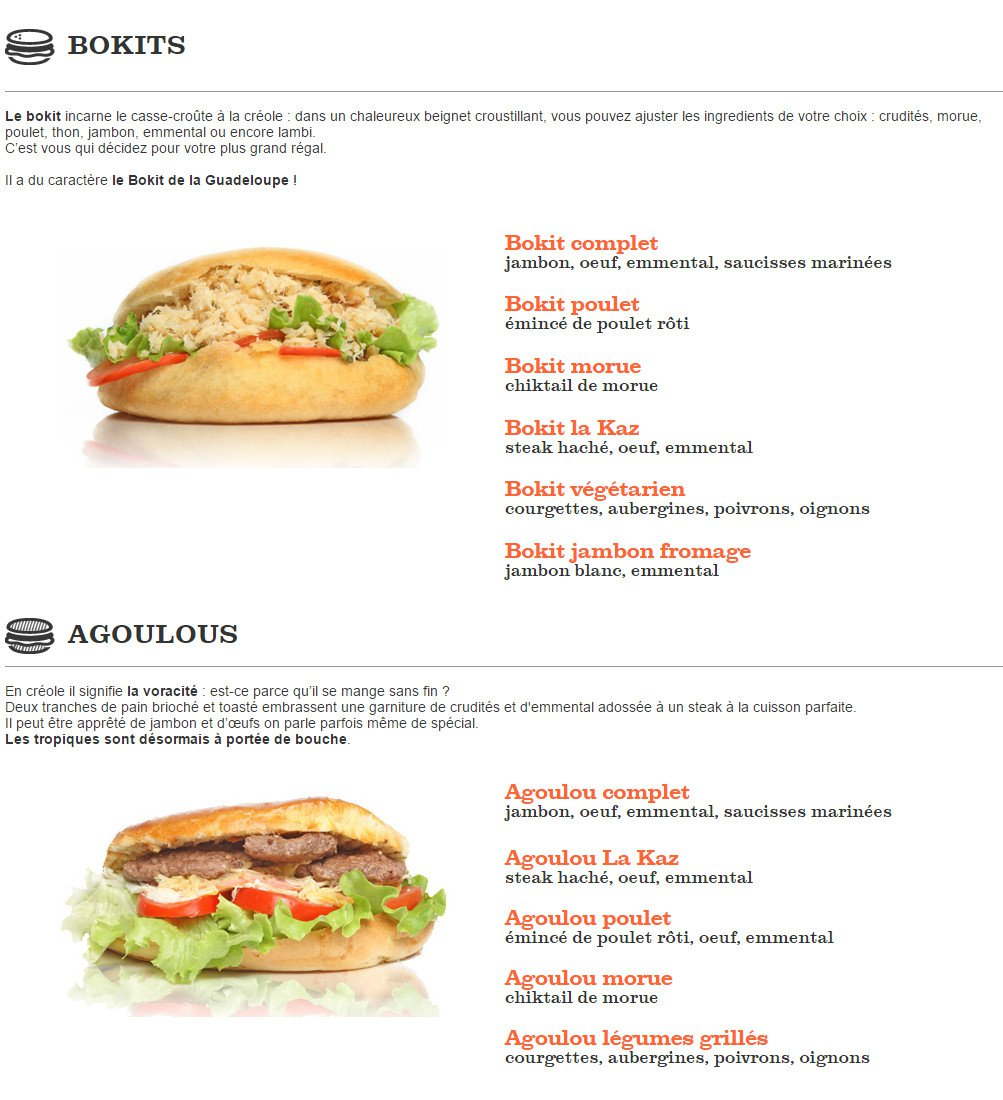 Carte Menu Fast Food