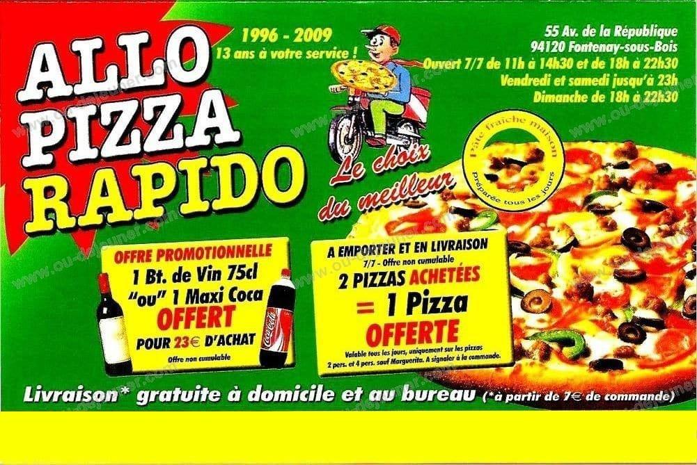 Allo Pizza Rapido à Fontenay Sous Bois, carte et menu en ligne