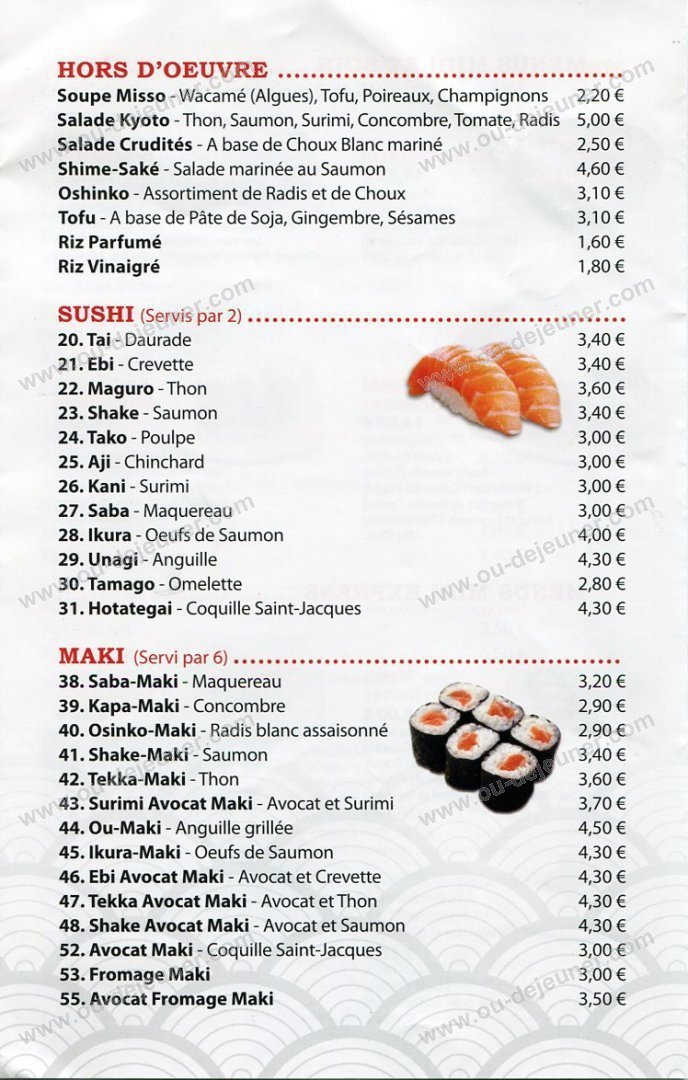 kyoto sushi saint mande carte et menu en ligne. Black Bedroom Furniture Sets. Home Design Ideas