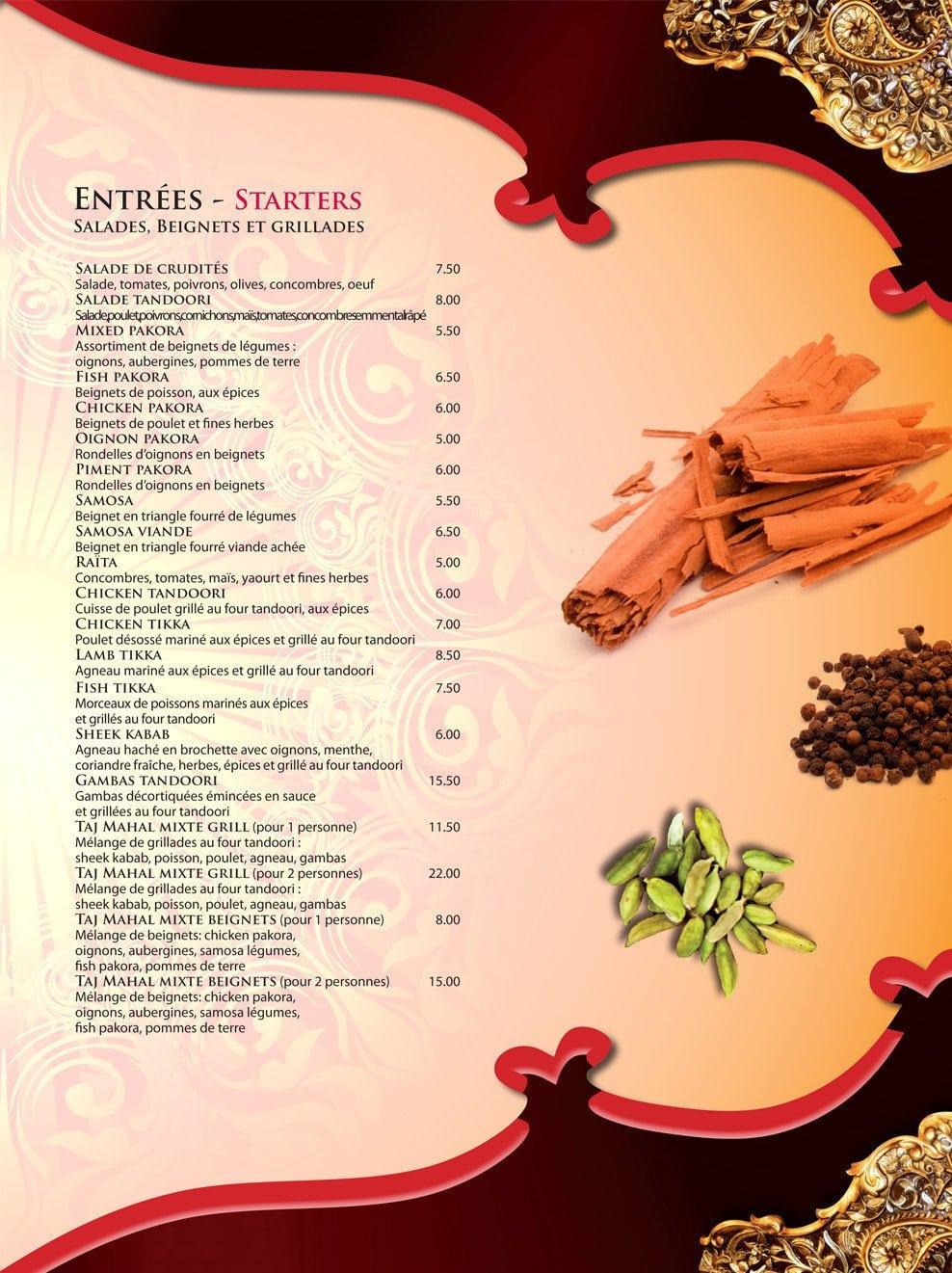 Restaurant Indien Pontoise Taj Mahal