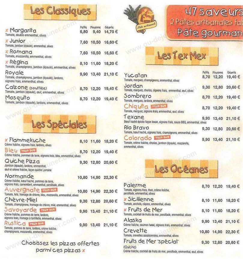 Kay 39 a pizza fort de france carte menu et photos for Menu ete original