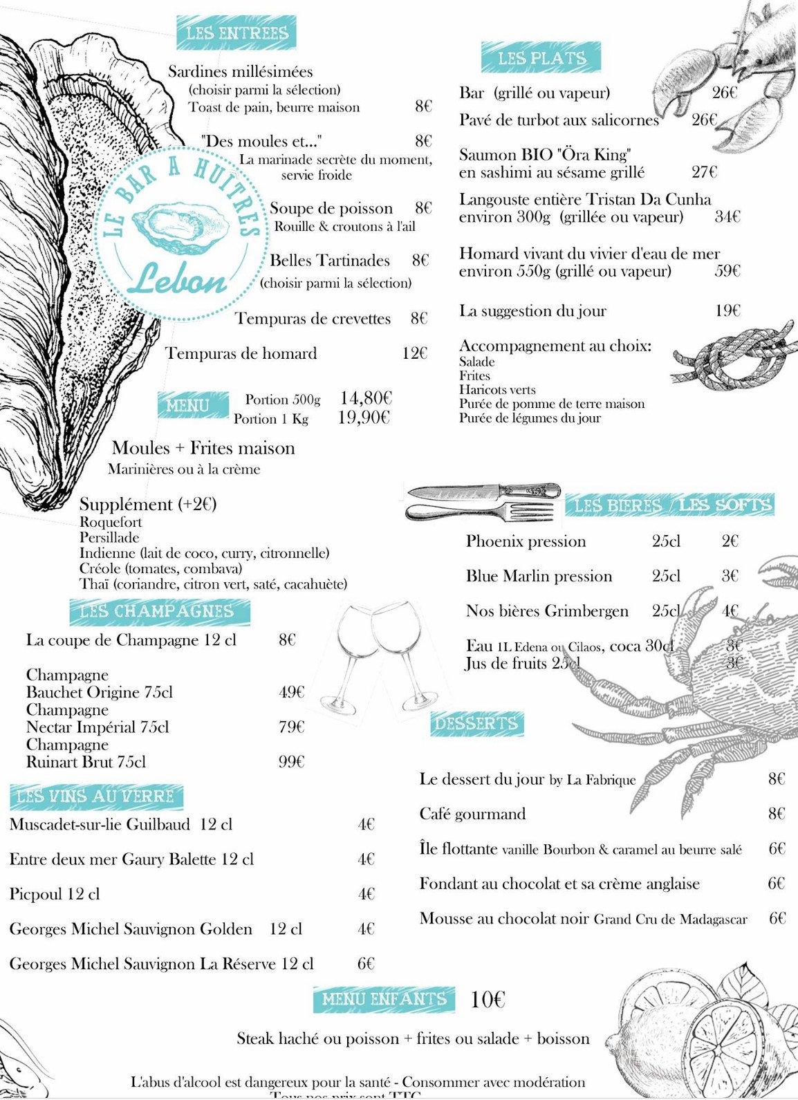 Le bar hu tres saint denis carte menu et photos for Menu ete original