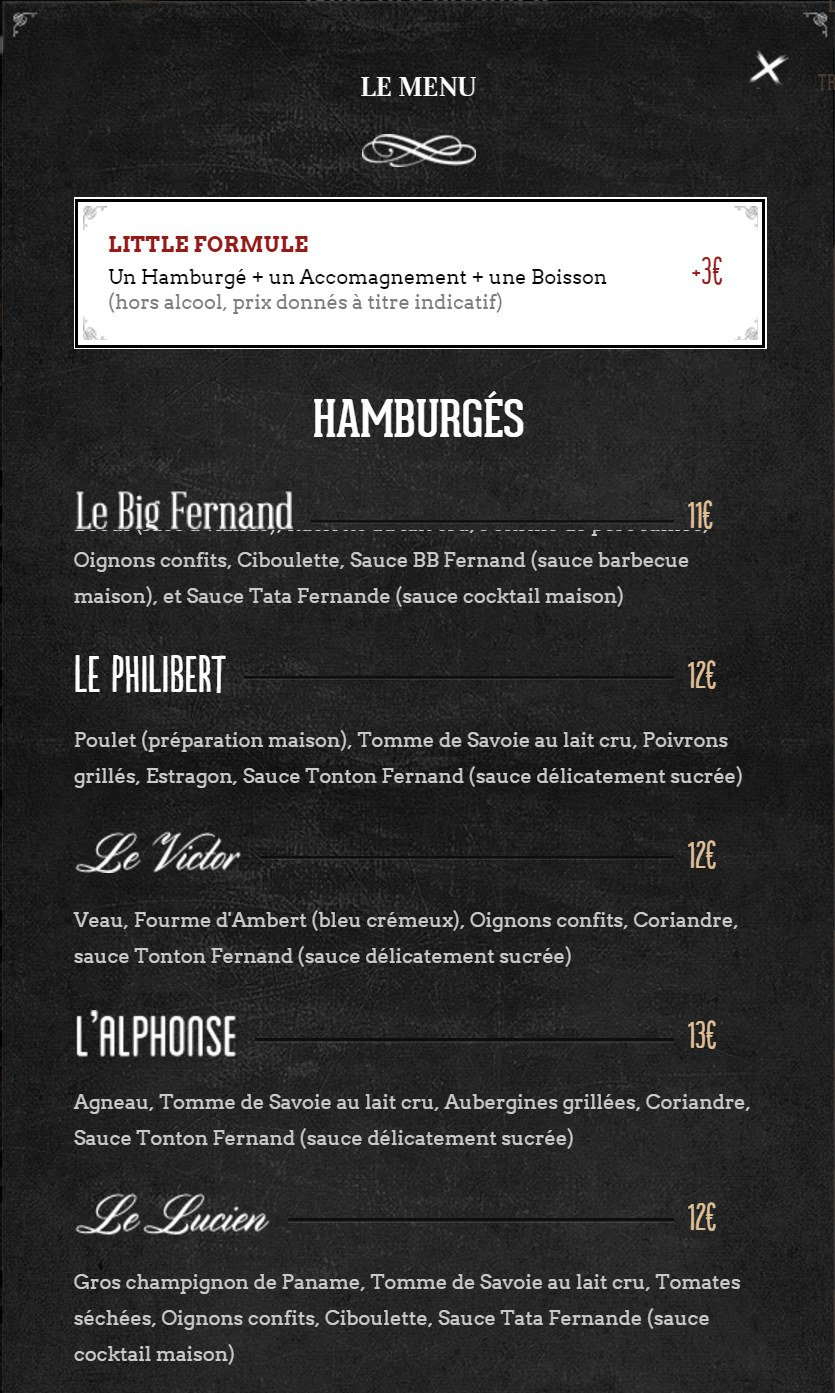 Top Big Fernand à Ajaccio, carte et menu en ligne RF84