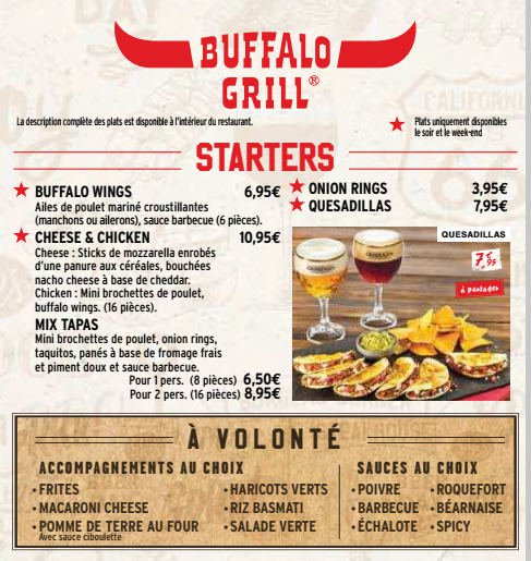 Buffalo grill saint quentin carte menu et photos - Menu buffalo grill tarif ...