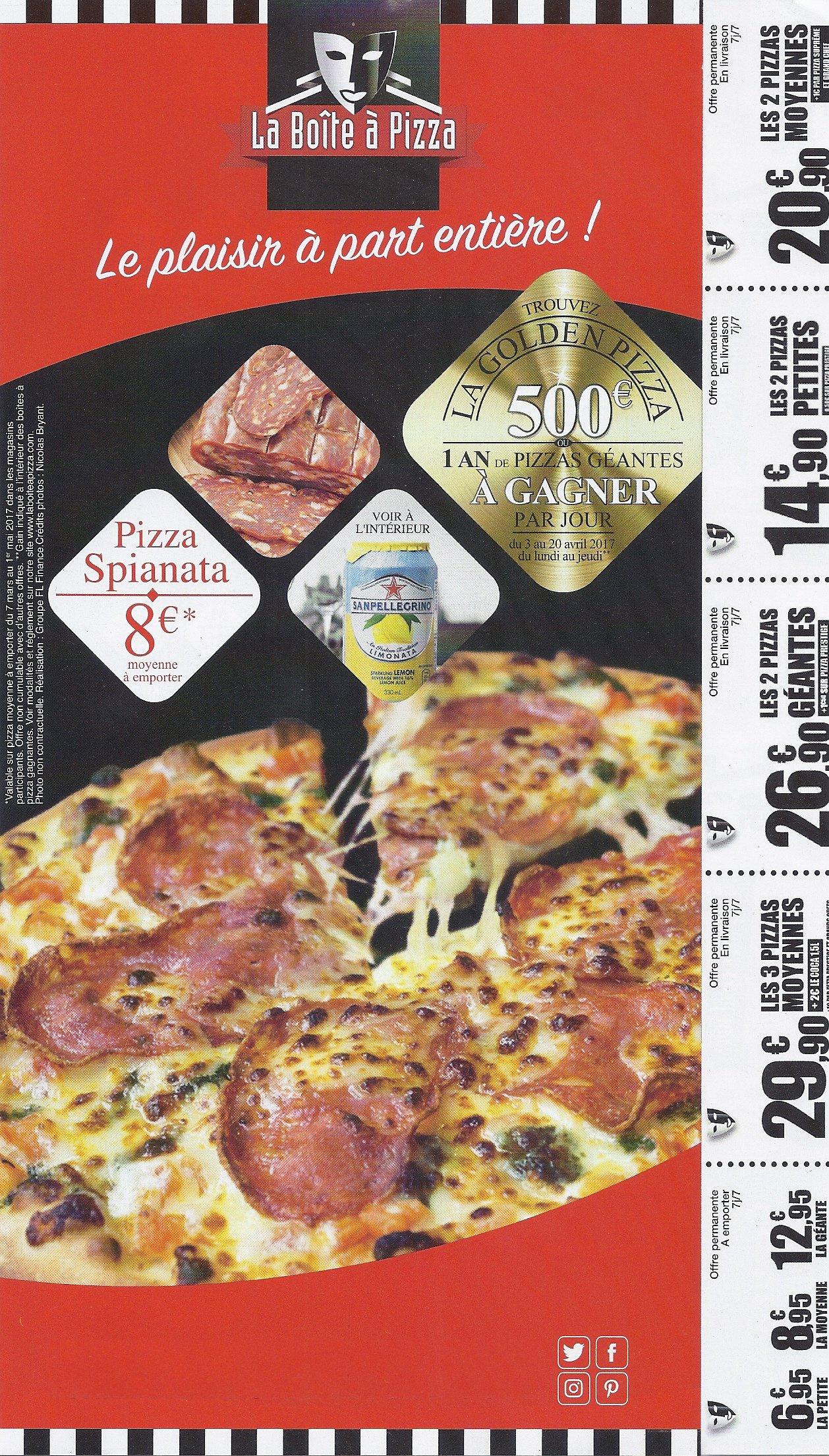 La bo te pizza perpignan carte et menu en ligne for Le garage a pizza